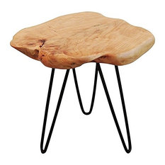 Welland Industries LLC - Cedar Wood Stump Small End Table - Side Tables and End Tables