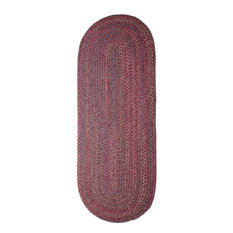 2'x6' Oval Runner (6ft Long) Rug, Burgundy (Red) Textured Braided