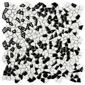 "Dizzy Ceramic Mosaic Floor/Wall Tile, Black/White, Sample Card, 3""x4"""
