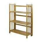 3 Shelf Folding Bookcase, Natural, Large, 3 Shelf