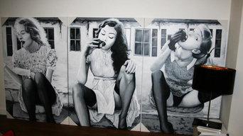 Decoración con cuadros estilo vintage dormitorio