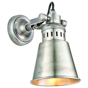 Elms Single Wall Light, 15 W, Tarnished Silver and Solid Brass