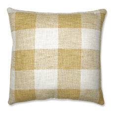 "Pillow Perfect Indoor Check Please Sunshine Yellow 25"" Floor Pillow"