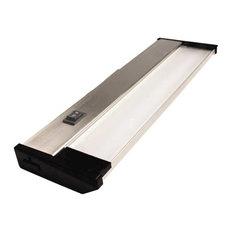 """120V Dimmable LED Under Cabinet Metal Light Bar, AQUC, Brushed Nickel, 12"""""""