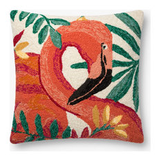 "Indoor / Outdoor Hooked Parrot Print 22""x22"" Accent Pillow, No Fill"
