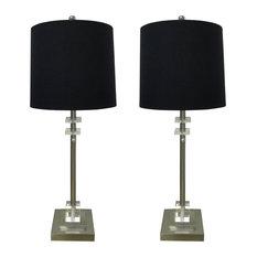 Square Crystal Lamp, Brush Nickel, Set of 2