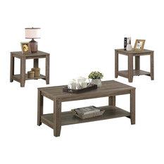 Table Set, 3-Piece Set, Dark Taupe