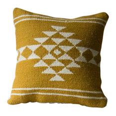 Sahara Kilim Cushion Cover, 40x40 cm, White/Mustard
