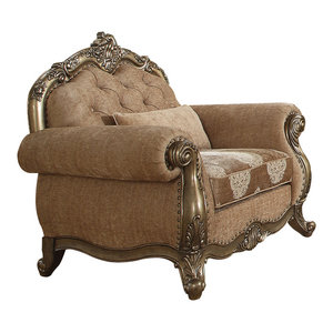 ACME Ragenardus Chair with 1 Pillow, Fabric and Vintage Oak