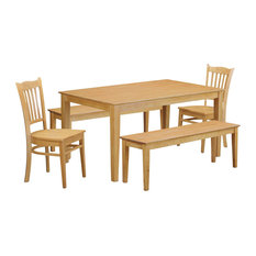 5-Piece Dining Room Set Table For Small Spaces And 2 Chairs Also 2 Benches