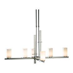 Mahogany Ondrian 6-Light Pendant, Long, Glass: Stone