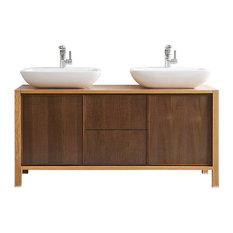 "Monza Single Vanity With Vessel Sink, American Red Oak, 59"", Without Mirror"