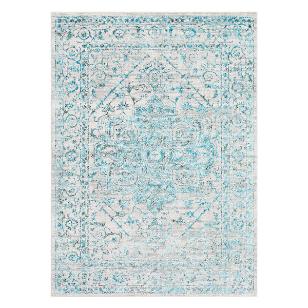 Distressed Area Rug Pale Blue 9'3''x12'3''
