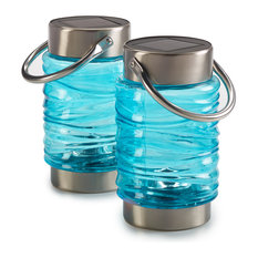 Solar Wave Lantern, Set of 2, Blue