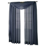 """Royal Tradition - Abri Single Rod Pocket Sheer Curtain Panel, Navy, 50""""x96"""" - Want your privacy but need sunlight? These crushed sheer panels can keep nosy neighbors from looking inside your rooms, while the sunlight shines through gracefully. Add an elusive touch of color to any room with these lovely panels and scarves. Sheers enhance the beauty of windows without covering them up, and dress up the windows without weighting them down. And this crushed sheer curtain in its many different colors brings full-length focus to your windows with an easy-on-the-eye color. These rod pocket crushed sheer panels are versatile enough to go from simple to elegant easily. The Abripedic Crushed Sheer Curtain panels are soft to the touch and adds a breezy relaxed look to any sort of d̩cor. This beautiful, solid-colored sheer curtain lets light gently filter through. Clean, simple one-pocket pole top design can be used with a standard or decorative curtain rod."""