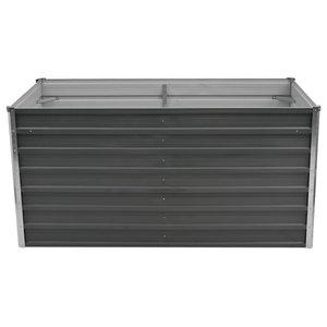 vidaXL Raised Galvanised Steel Garden Bed, Grey, 160x80x77 cm