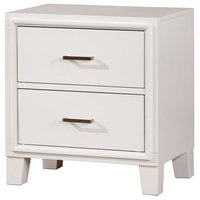 Transitional Solid Wood Night Stand With Drawers, White