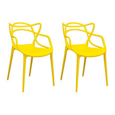 Mod Made Modern Plastic Loop Dining Chair, Set of 2 (Yellow)