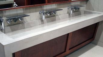 Custom Concrete Integral Trough Ramp Sink and Concrete Countertop