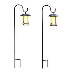 "Classical Hanging Solar Lanterns With Shepherd""s Hooks, Set of 2"