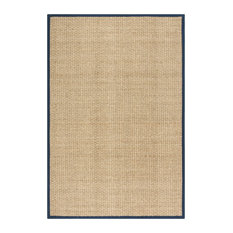 Yessica Natural Fibre Area Rug With Blue Border, 180x275 cm