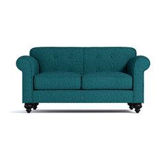 Pico Tufted Back Apartment Size Sofa Chicago Blue 78-inchx37-inchx33-inch