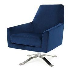 GDF Studio Aegis New Velvet Retro Style Swivel Club Chair, Navy Blue