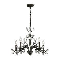 Crystal Branches 5-Light Chandelier, Burnt Bronze