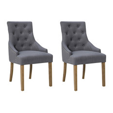 Brooklyn Traditional Dining Chairs, Set of 2, Grey Fabric