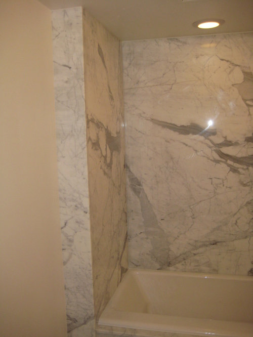 Bathroom Shower: Calcutta Gold Marble Slabs