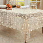 """Saro Lifestyle - Delicate Crochet Tablecloth, Ecru, 65""""x88"""" - You can dress up your dining table in style with this gorgeous Crochet Design Tablecloth. Featuring a lovely cotton blend construction, the tablecloth delivers long lasting use and a natural feel. The vintage design brings an old world charm to your tabletop and helps you create a beautiful, unique aesthetic."""