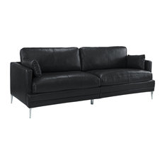 Sofamania Clic Mid Century Leather Match Sofa A Low Profile Frame Black