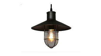 Industrial Caged Pendant Light Bulb Included, Iron/Glass, Black
