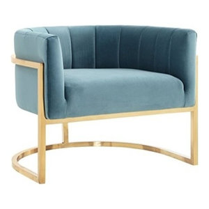 Mica Gold Lounge Chair Blue Contemporary Armchairs