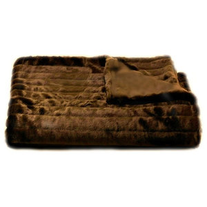 Channel Mink Throw Blanket, Fur Lined, Brown, 4'x5'