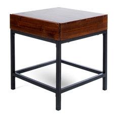 GDF Studio Elrod Industrial Dark Oak Acacia Wood Storage Side Table