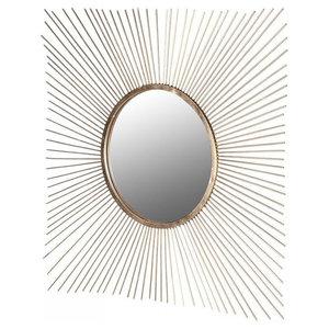 Square Gold Sunburst Mirror, 105x105 cm