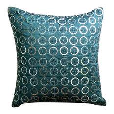 """Blue Art Silk 20""""x20"""" Metallic Sequins Pillows Cover, Teal N Silver Rings"""