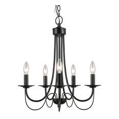 5-Light Retro Style Chandelier Black Iron Industrial Pendant Light