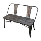 Industrial Style Double Bench, Gunmetal