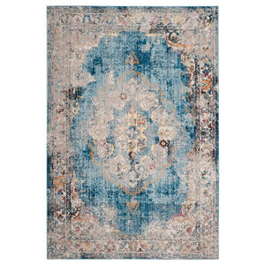 Aimee Transitional Blue and Light Grey Area Rug, 180x275 cm