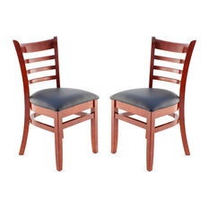 US Made Ladder Back Chair Set Of 2 Mahogany Black Vinyl Seat