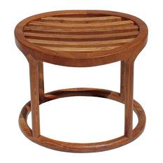 Chinese Oriental Brown Huali Wood Curve Seat Oval Stool Hcs4196