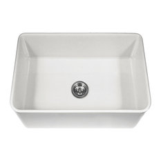 """Houzer PTS-4100 WH Platus 30"""" Apron-Front Fireclay Single Bowl Sink, White"""