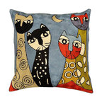 Picasso Cat Pillow Cover Blue Quadruplets Hand Embroidered Wool 18x18""