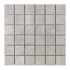 """Essential 2""""x2"""" Porcelain Mosaic Tile, Silver"""