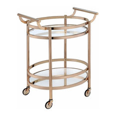 "27"" X 19"" X 34"" Clear Glass And Gold Serving Cart"