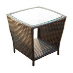 GDF Studio Easton Outdoor Wicker Accent Table, Brown