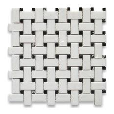 "12""x12"" Thassos White Basketweave Mosaic, Black Dots Polished, Chip Size: 1""x2"""