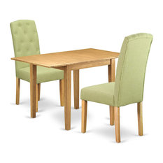 3 Pieces Dining Set Rubberwood Construction And Linen Upholstery Oak